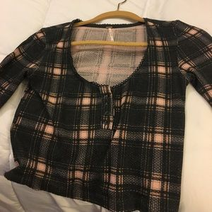 Free People plaid long sleeve cropped thermal